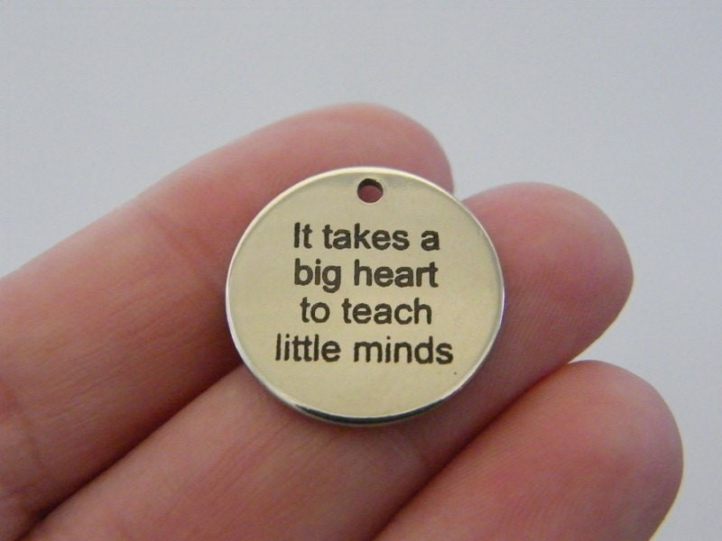 BULK 10 It takes a big heart to teach little minds charm 20mm  stainless steel TAG9-2