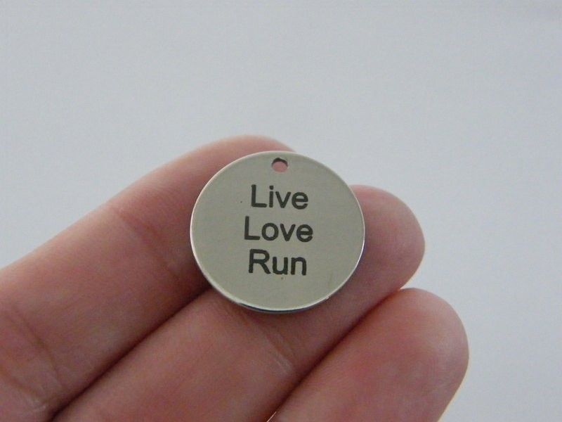 1 Live Love Run charm 20mm  stainless steel TAG9-2
