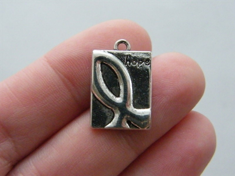 12 Hope charms antique silver tone M175