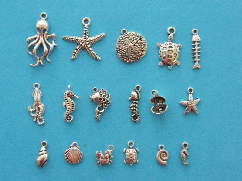 The Ultimate Under The Sea Collection - 17 different antique silver tone charms