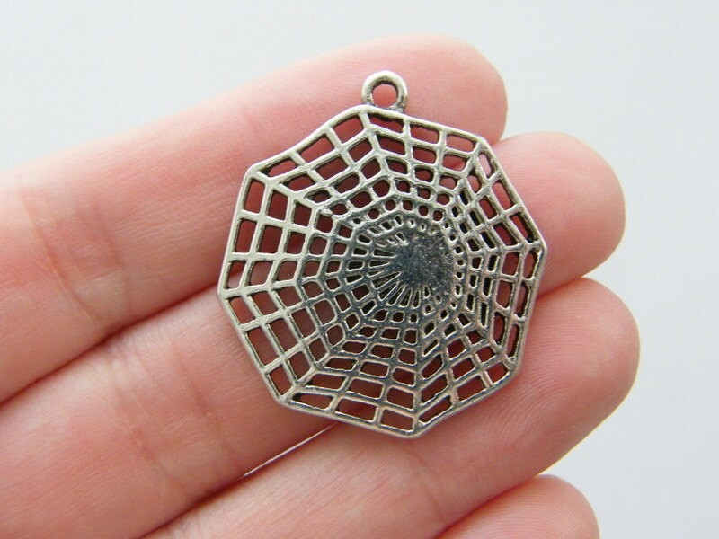 4 Cobweb or spiderweb pendants antique silver tone HC139