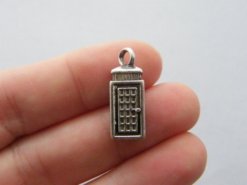 4 Telephone booth charms antique silver tone PT41