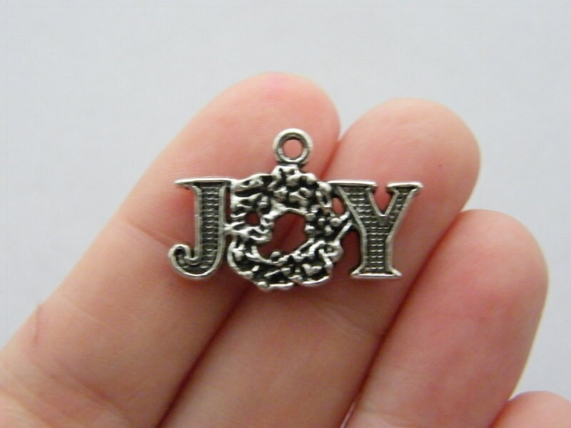 BULK 30 Joy charms  antique silver tone CT105