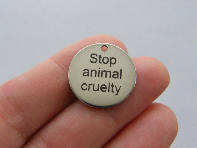 1  Stop animal cruelty charm 20mm  stainless steel TAG9-2