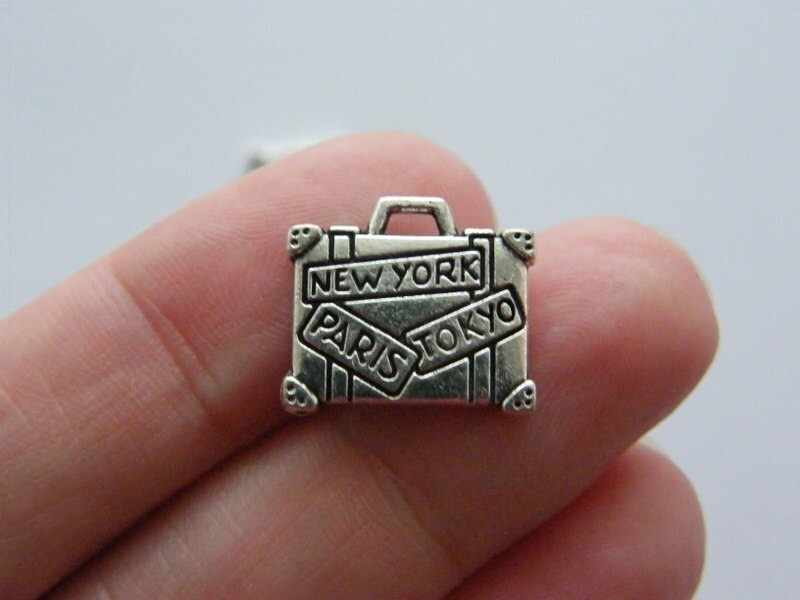 BULK 30 Suitcase charms antique silver tone CA74