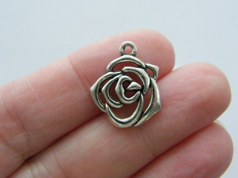 8 Rose flower charms antique silver tone F137