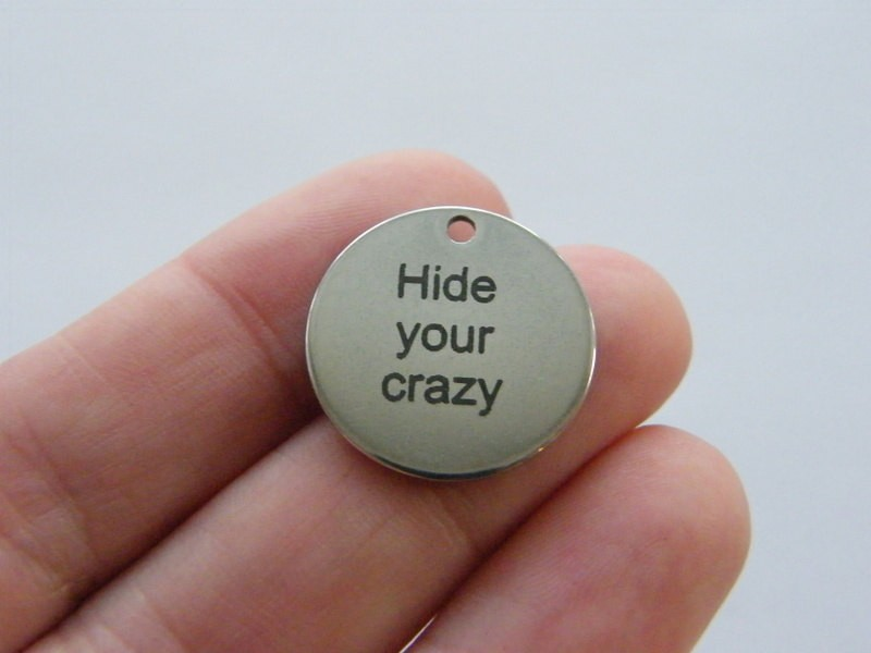 1 Hide your crazy charm 20mm  stainless steel TAG9-3