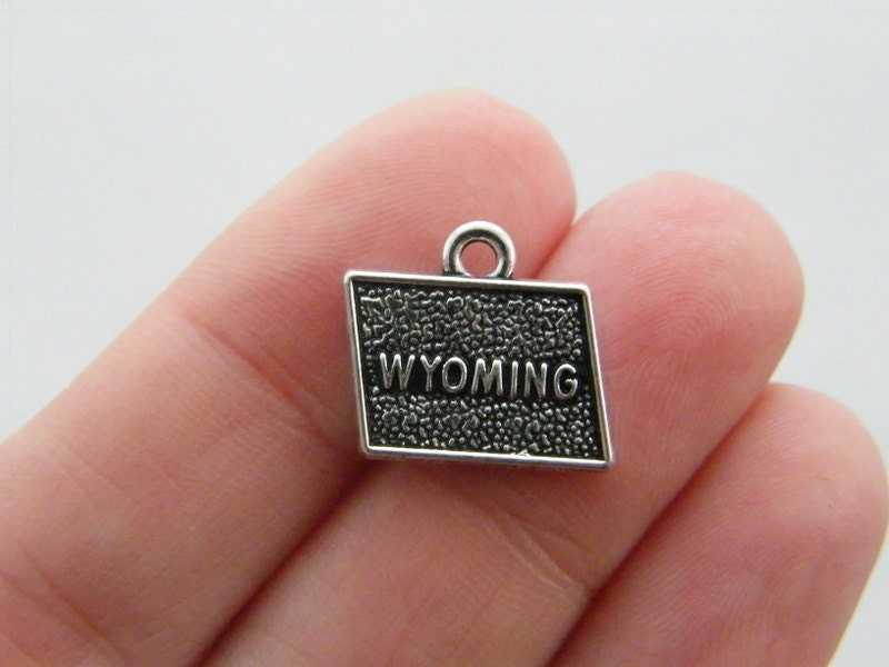 4 Wyoming charms antique silver tone WT161