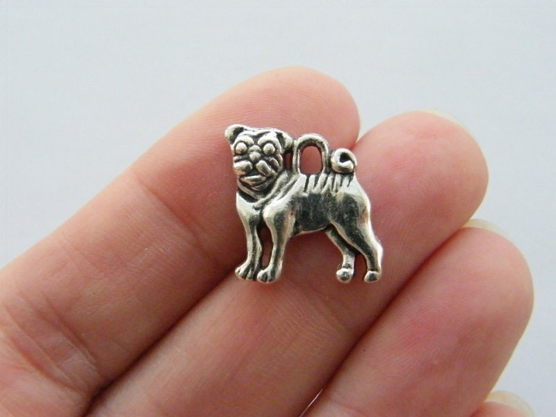 6 Dog charms antique silver tone A799
