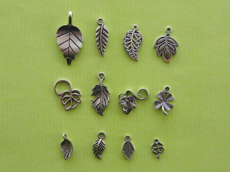 The Leaf Collection - 12 different antique silver tone charms