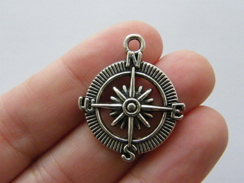 4 Compass charms antique silver tone SC40