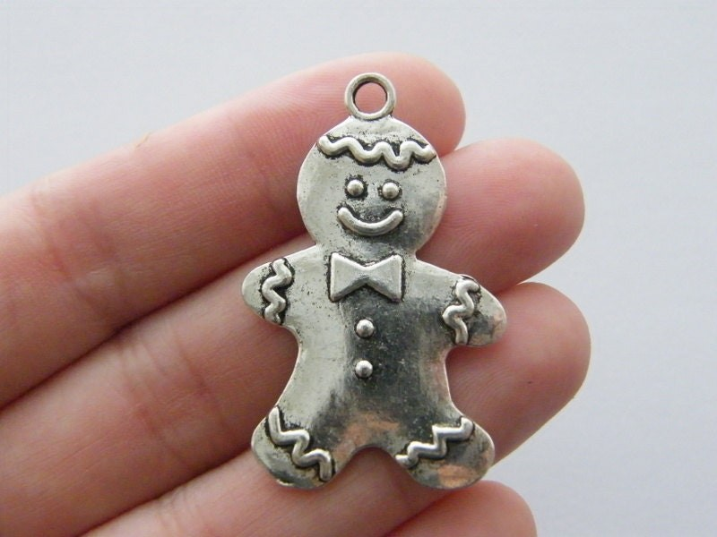 2 Gingerbread man pendants antique silver tone CT84