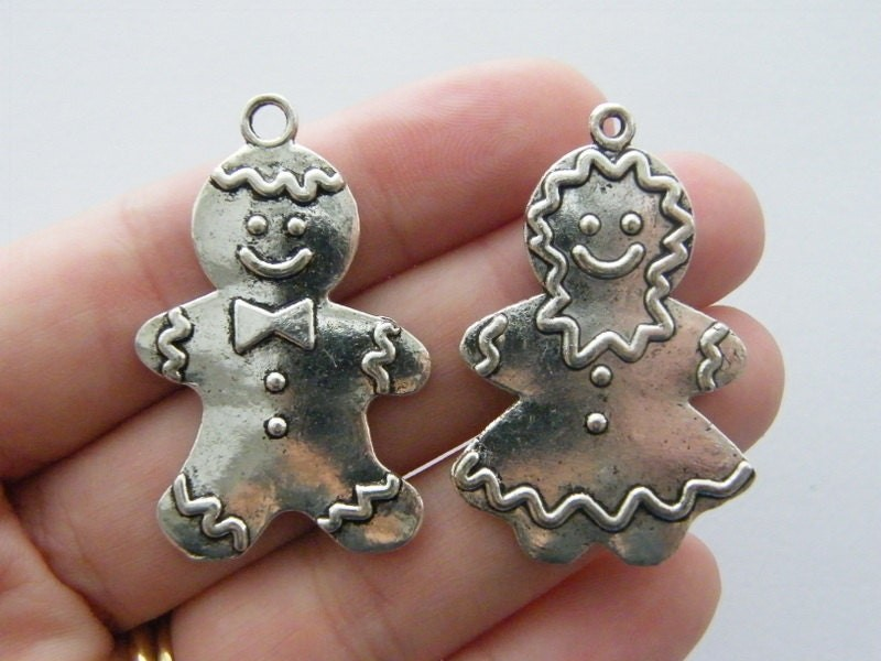 The Gingerbread Collection - 2 pendants antique silver tone