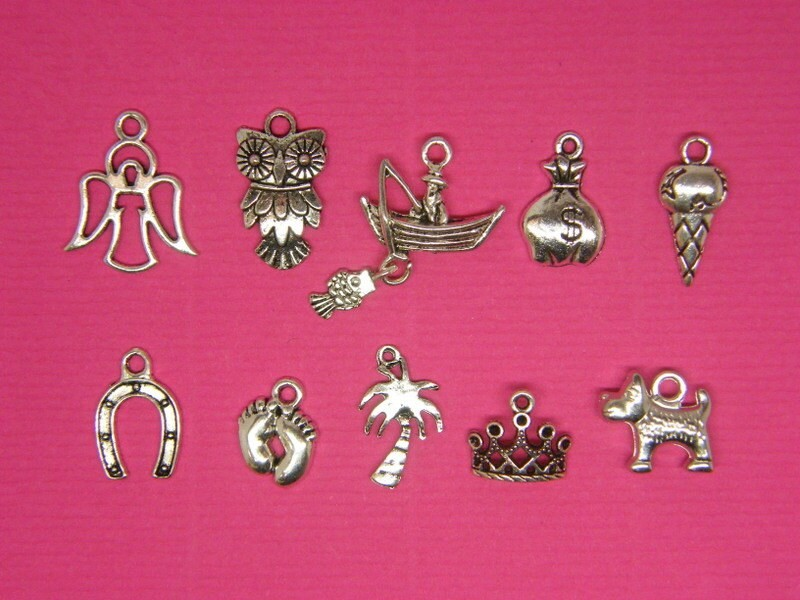 Cake Pull 3 - 10 different antique silver tone charms