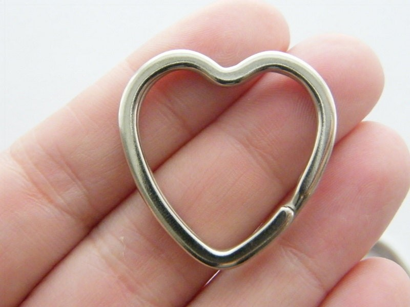 BULK 10 Heart key rings 31 x 31mm silver tone FS594