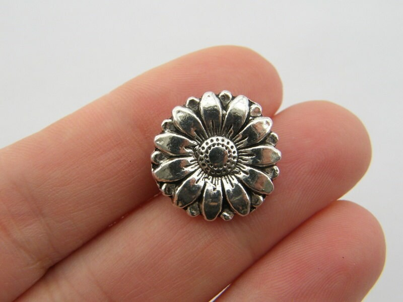 4 Flower button charms antique silver tone F163