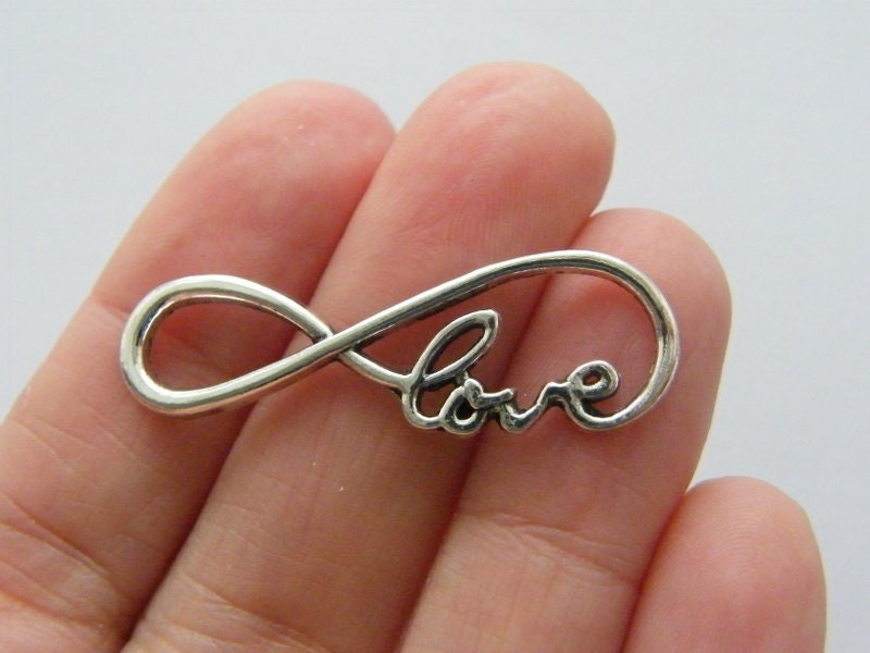 4 Love infinity charms or connectors antique silver tone I77