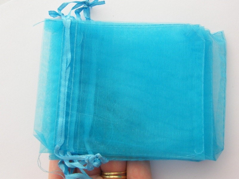 BULK 100 Organza bags light blue - medium