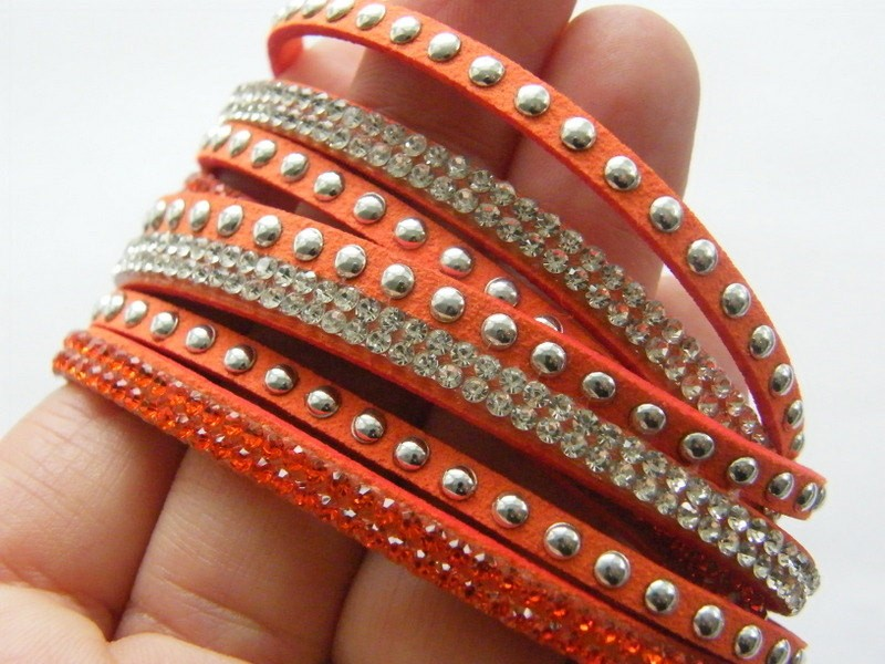 1  Orange suede rhinestone bracelet 40.5cm NB7