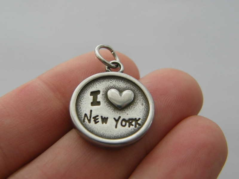 1 I love New York charm dark silver tone stainless steel WT187