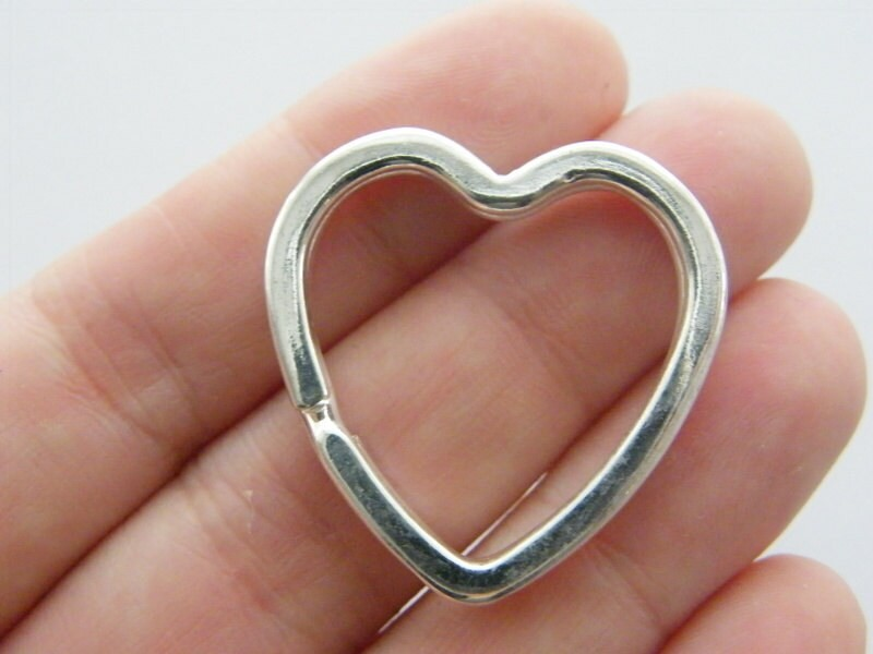 BULK 10 Heart key ring 31 x 31mm silver plated FS555